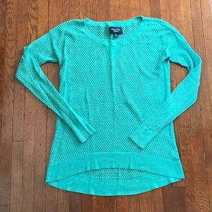 AEO Green Open Knit Top